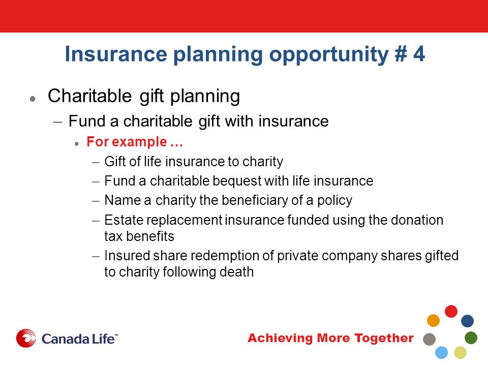 Achieving More Together Insurance planning opportunity # 4 Charitable gift planning –Fund a charitable gift with insurance For example … –Gift of life insurance to charity –Fund a charitable bequest with life insurance –Name a charity the beneficiary of a policy –Estate replacement insurance funded using the donation tax benefits –Insured share redemption of private company shares gifted to charity following death