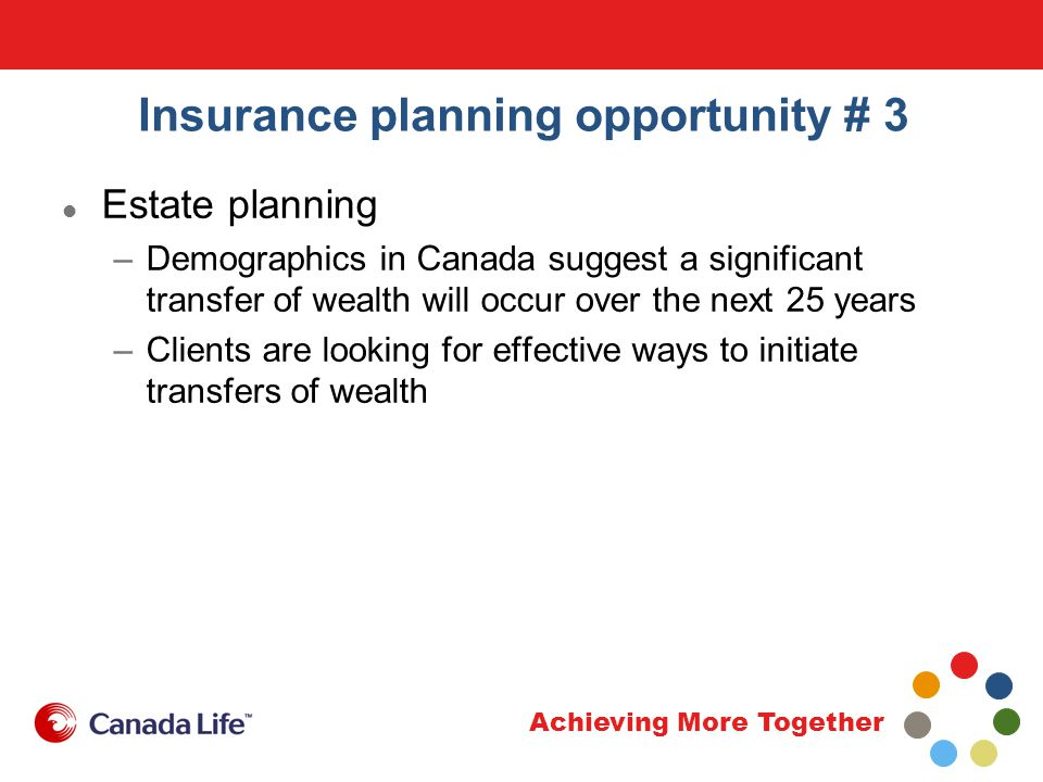 Achieving More Together Insurance planning opportunity # 3 Estate planning –Demographics in Canada suggest a significant transfer of wealth will occur over the next 25 years –Clients are looking for effective ways to initiate transfers of wealth