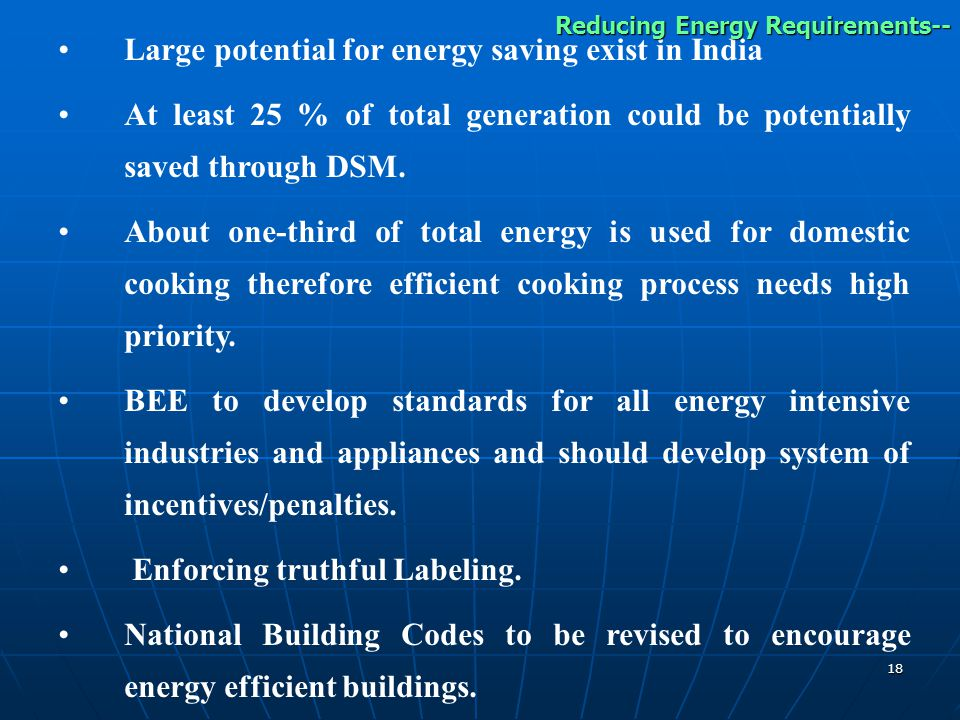 18 Large potential for energy saving exist in India At least 25 % of total generation could be potentially saved through DSM.