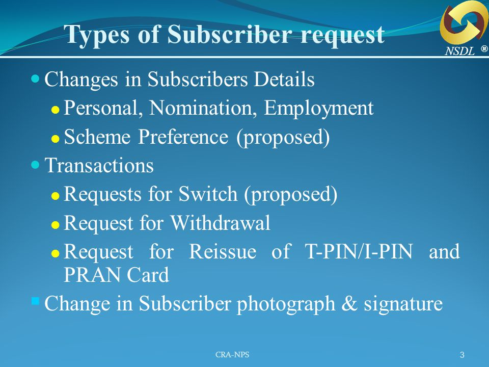 CRA-NPS 3 Changes in Subscribers Details Personal, Nomination, Employment Scheme Preference (proposed) Transactions Requests for Switch (proposed) Req
