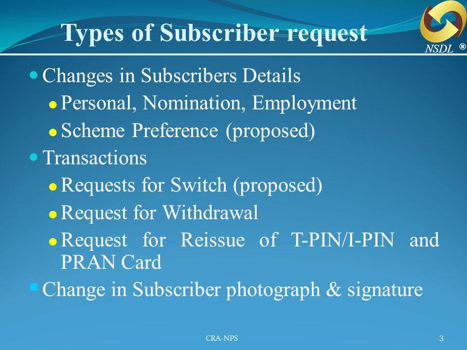 CRA-NPS 4 Subscriber PAO/CDDO NPSCAN CRA 1.Change details Request 4.