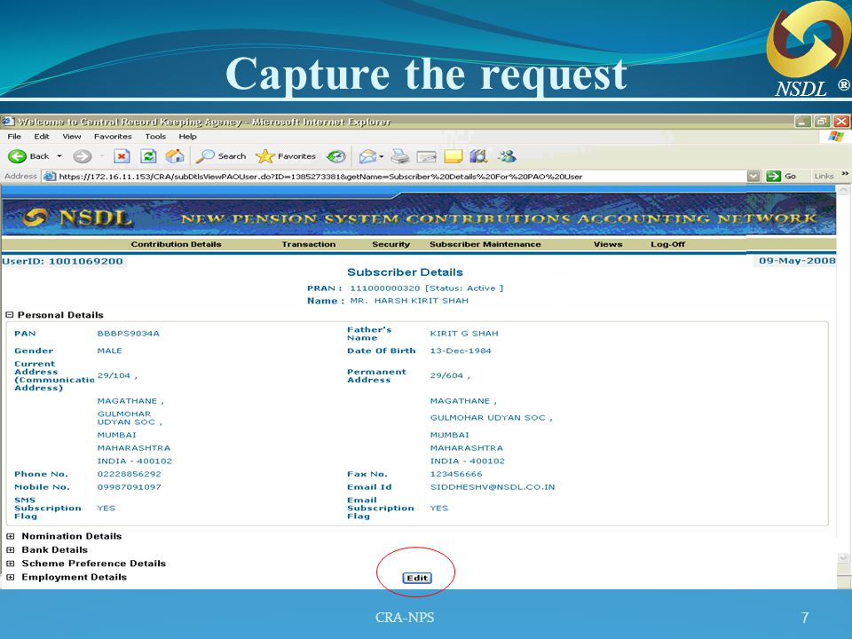 CRA-NPS 8 The Confirmation Screen ® NSDL
