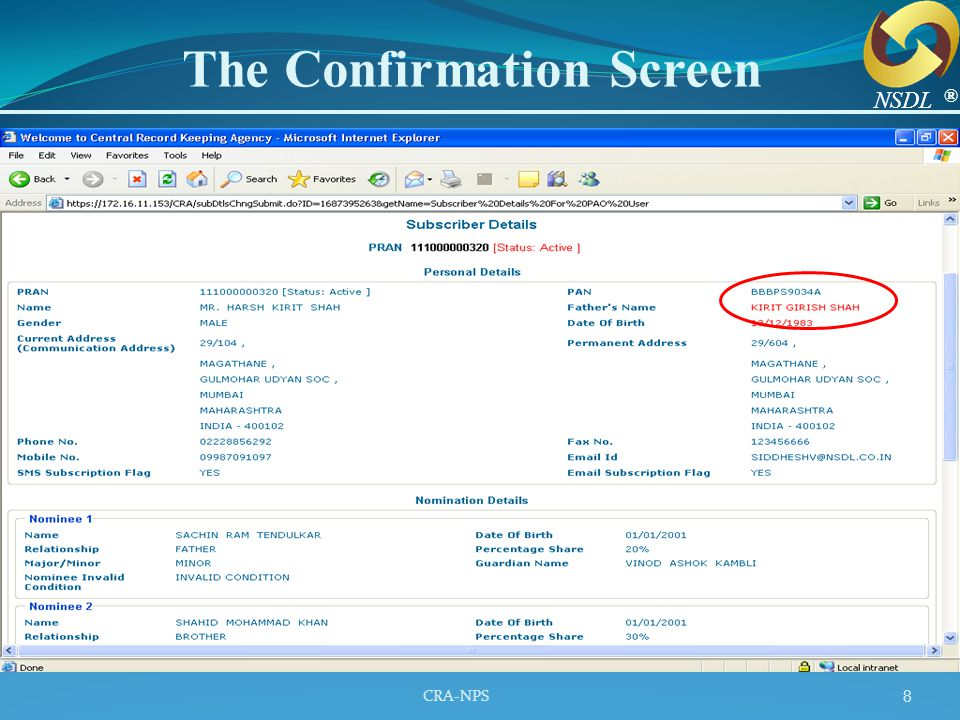 CRA-NPS 9 The Acknowledgement Number ® NSDL
