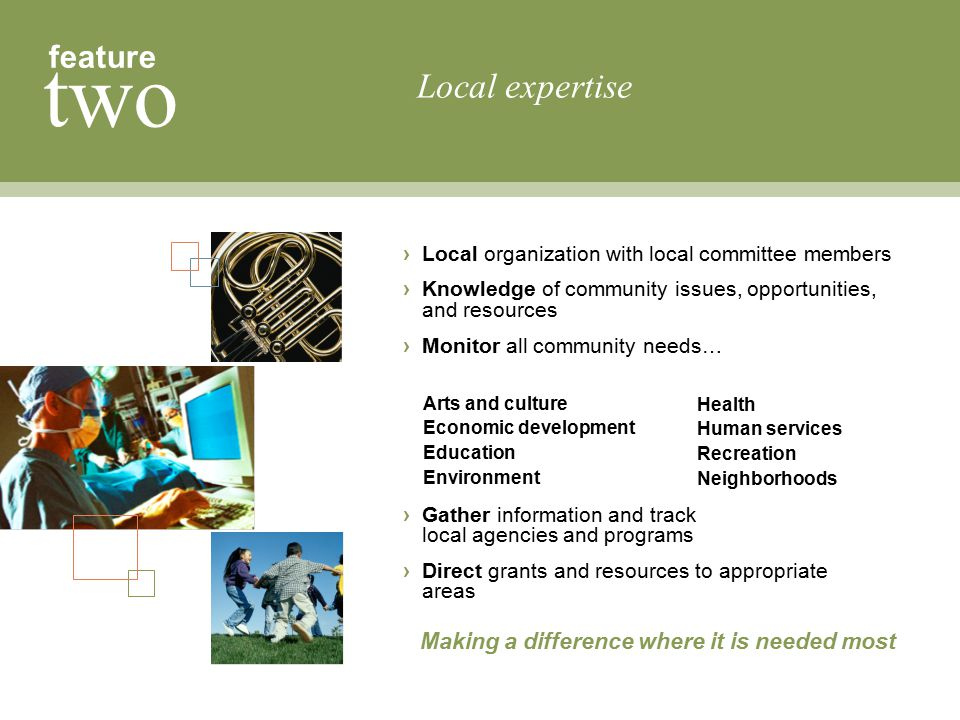 Local expertise feature two Making a difference where it is needed most Arts and culture Economic development Education Environment Health Human servi