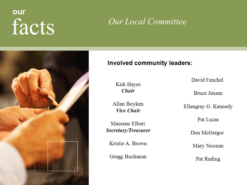 our facts Involved community leaders: Our Local Committee Kirk Hayes Chair Allan Boyken Vice Chair Maureen Elbert Secretary/Treasurer Kristie A.