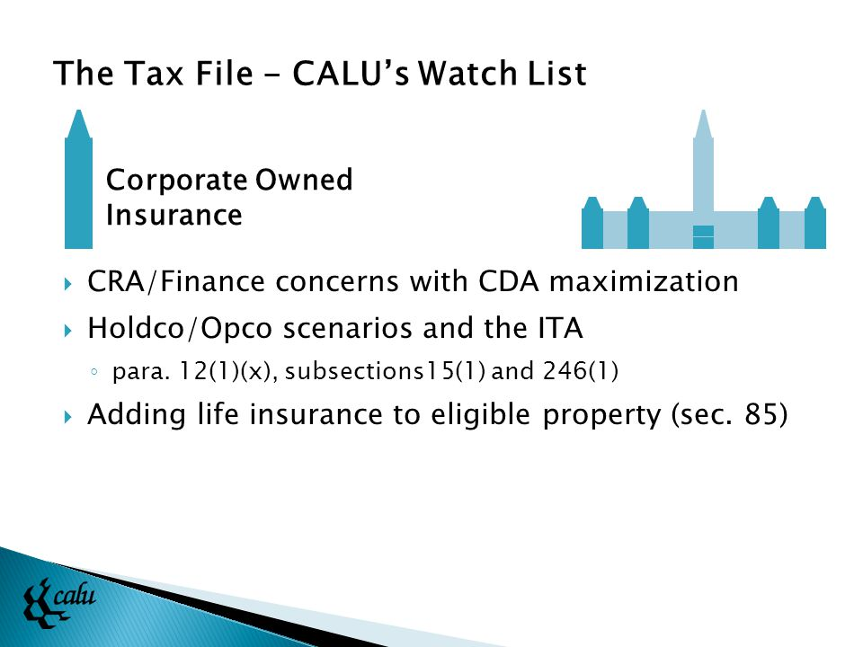  CRA/Finance concerns with CDA maximization  Holdco/Opco scenarios and the ITA ◦ para.