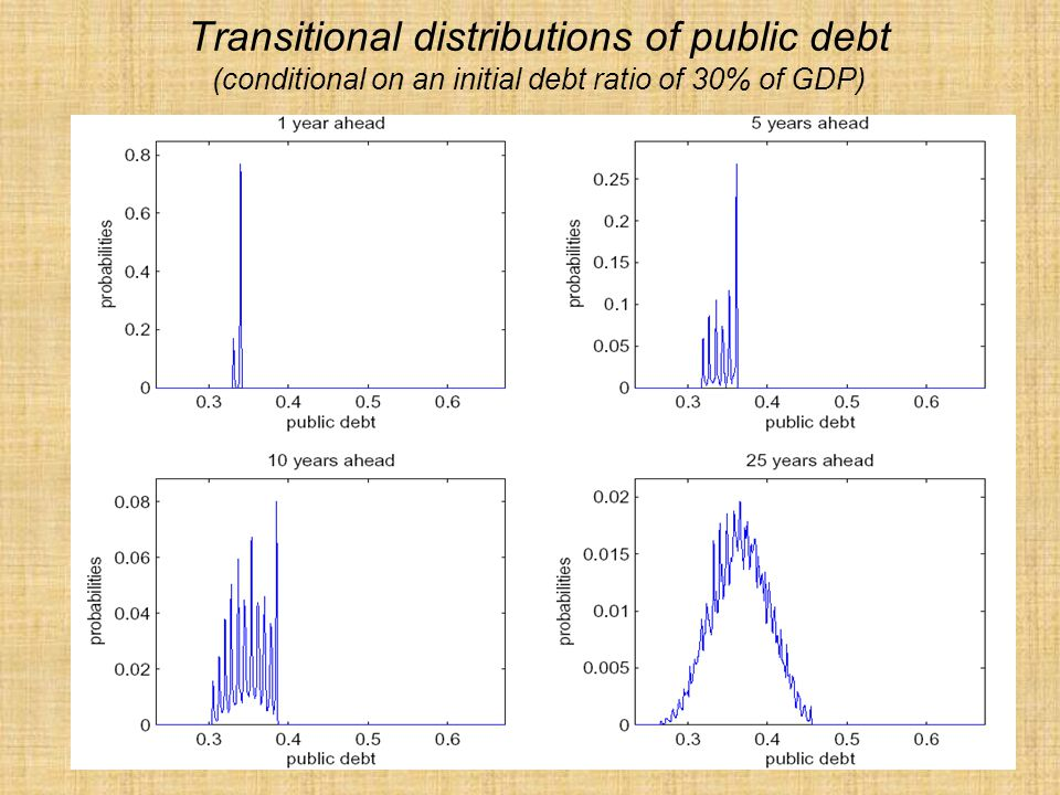 Transitional distributions of public debt (conditional on an initial debt ratio of 30% of GDP)