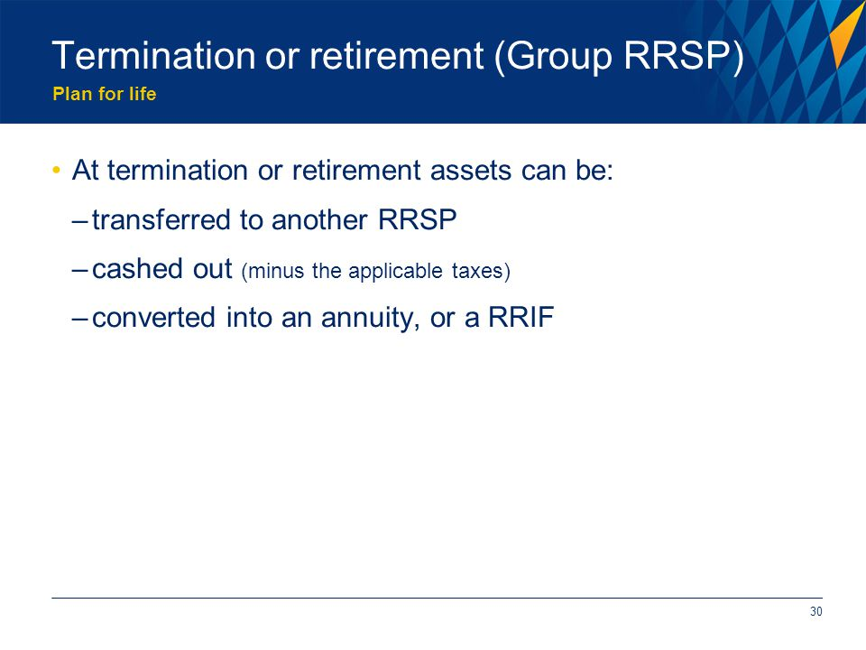 Plan for life Termination or retirement (Group RRSP) At termination or retirement assets can be: –transferred to another RRSP –cashed out (minus the applicable taxes) –converted into an annuity, or a RRIF 30