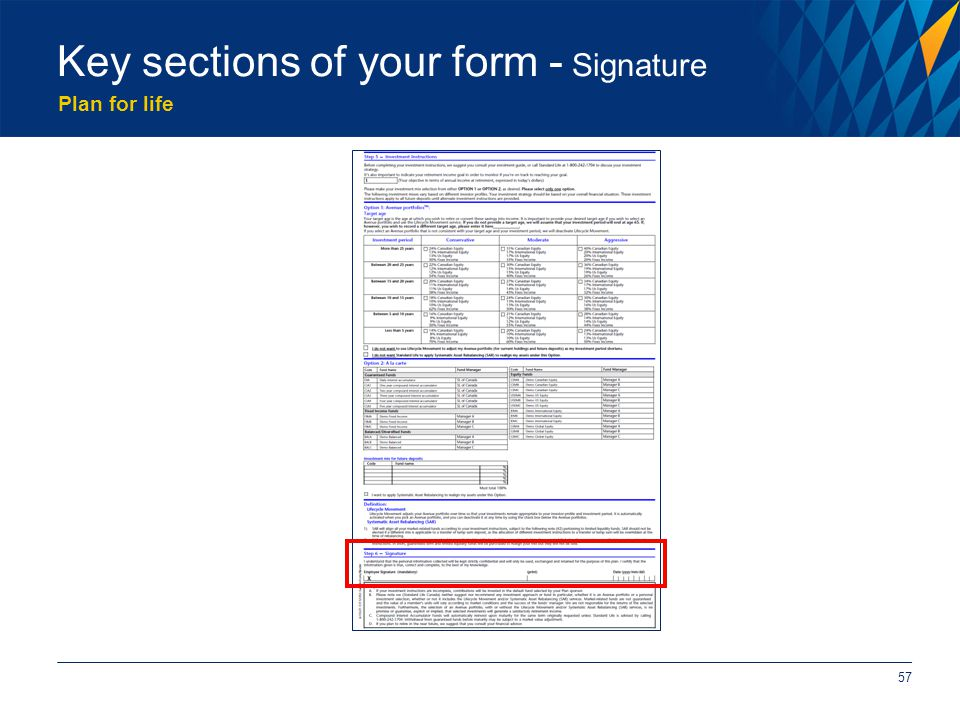 Plan for life 57 Key sections of your form - Signature