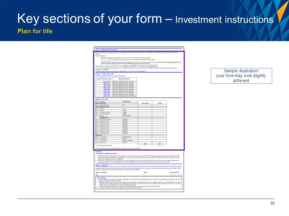 Plan for life 58 Key sections of your form – Investment instructions Sample illustration your form may look slightly different