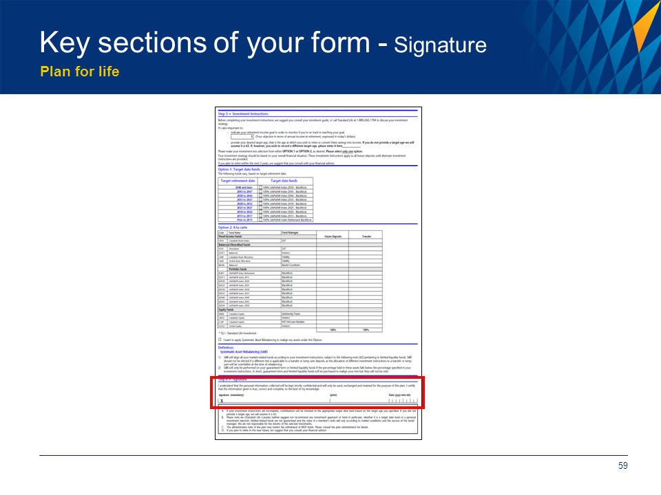Plan for life 59 Key sections of your form - Signature