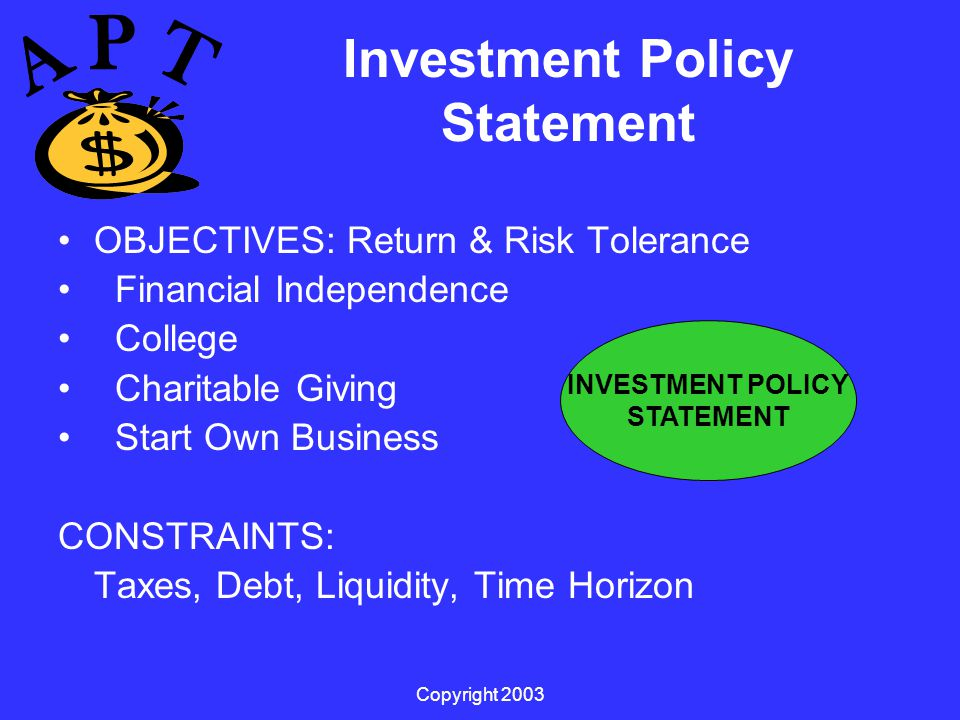 Copyright 2003 Investment Policy Statement OBJECTIVES: Return & Risk Tolerance Financial Independence College Charitable Giving Start Own Business CONSTRAINTS: Taxes, Debt, Liquidity, Time Horizon INVESTMENT POLICY STATEMENT