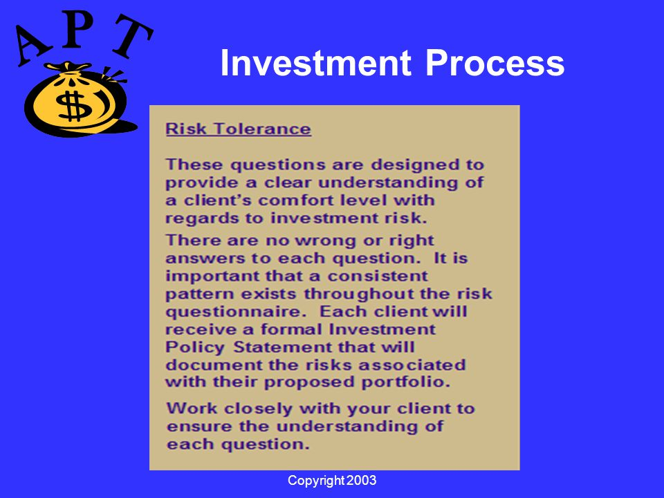 Copyright 2003 Investment Process