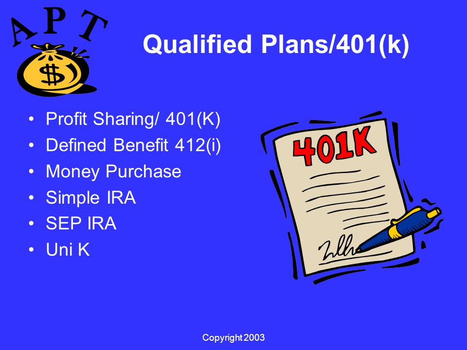 Copyright 2003 Qualified Plans/401(k) Profit Sharing/ 401(K) Defined Benefit 412(i) Money Purchase Simple IRA SEP IRA Uni K
