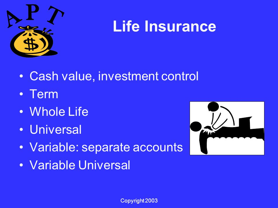 Copyright 2003 Life Insurance Cash value, investment control Term Whole Life Universal Variable: separate accounts Variable Universal