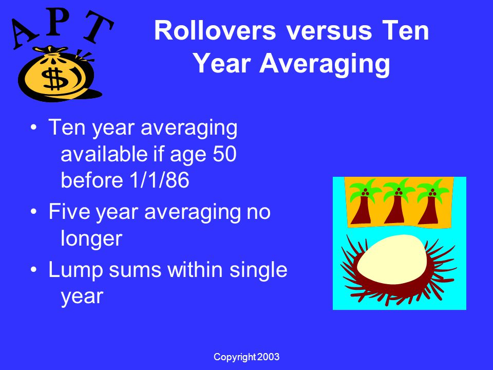 Copyright 2003 Rollovers versus Ten Year Averaging Ten year averaging available if age 50 before 1/1/86 Five year averaging no longer Lump sums within single year