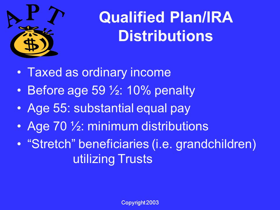 Copyright 2003 Qualified Plan/IRA Distributions Taxed as ordinary income Before age 59 ½: 10% penalty Age 55: substantial equal pay Age 70 ½: minimum distributions Stretch beneficiaries (i.e.