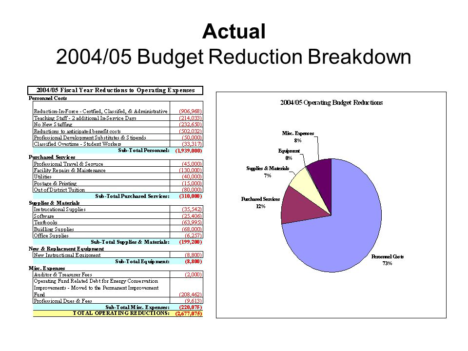 Actual 2004/05 Budget Reduction Breakdown