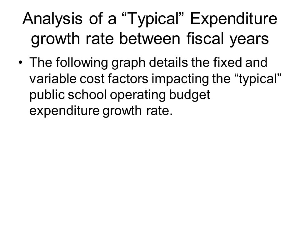 Analysis of a Typical Expenditure growth rate between fiscal years The following graph details the fixed and variable cost factors impacting the typical public school operating budget expenditure growth rate.