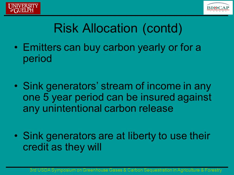 3rd USDA Symposium on Greenhouse Gases & Carbon Sequestration in Agriculture & Forestry Risk Allocation (contd) Emitters can buy carbon yearly or for