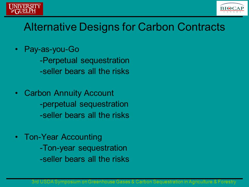 3rd USDA Symposium on Greenhouse Gases & Carbon Sequestration in Agriculture & Forestry Alternative Designs for Carbon Contracts (contd) Variable-Length -Temporary sequestration -seller bears the risks but flexible Ex Ante Discounting -Perpetual sequestration -seller bears the risks Renting/leasing Temporary sequestration -Similar to the variable length -seller bears all the risks but flexible