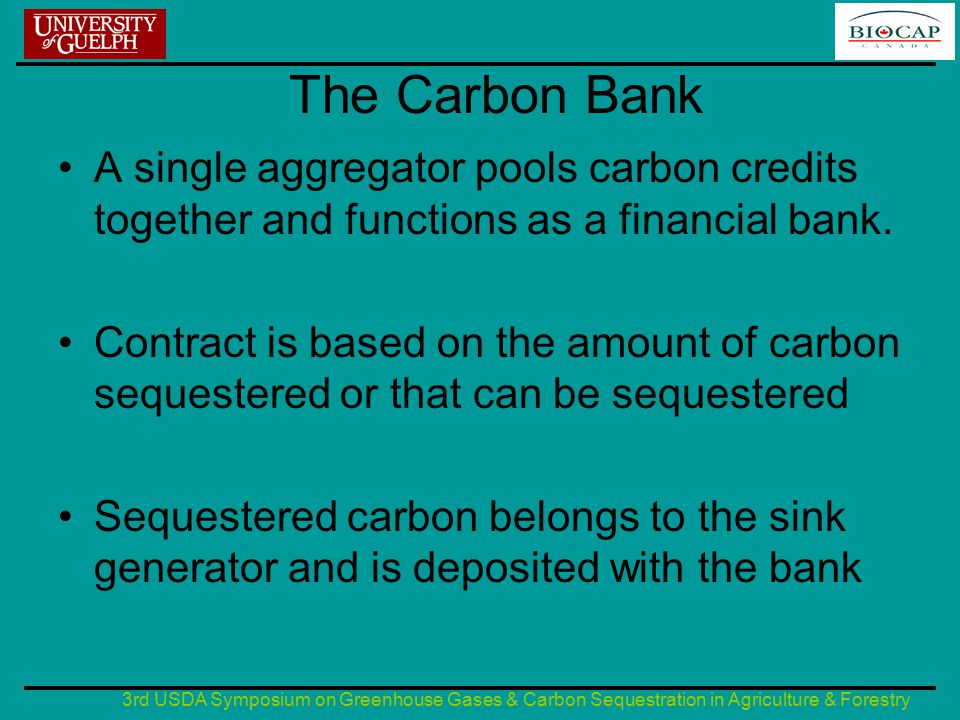 3rd USDA Symposium on Greenhouse Gases & Carbon Sequestration in Agriculture & Forestry The Carbon Bank A single aggregator pools carbon credits together and functions as a financial bank.