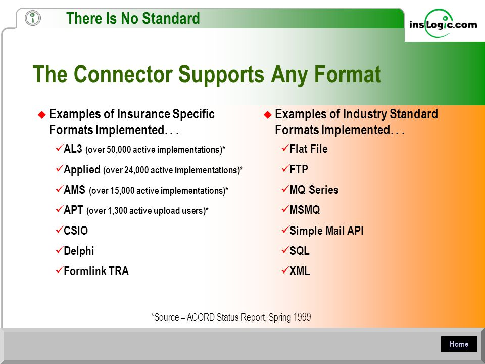 Home The Connector Supports Any Format  Examples of Insurance Specific Formats Implemented...