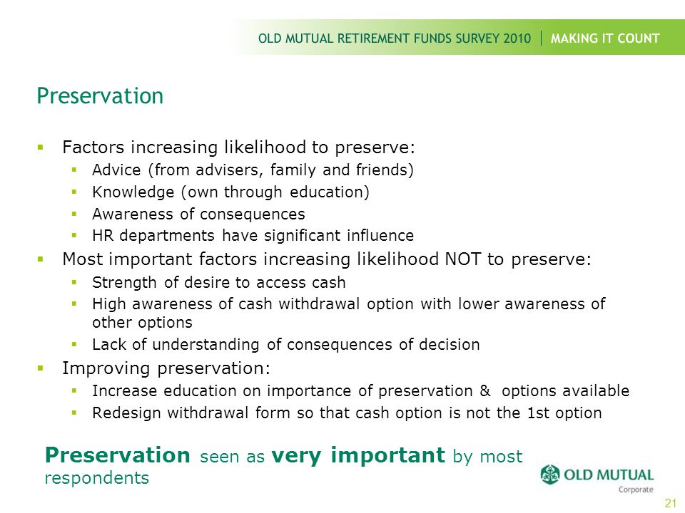 Preservation  Factors increasing likelihood to preserve:  Advice (from advisers, family and friends)  Knowledge (own through education)  Awareness