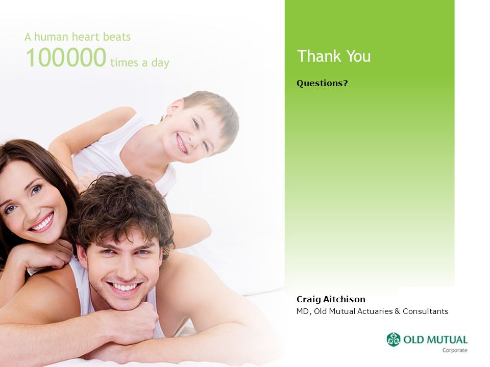 Thank You Questions? Craig Aitchison MD, Old Mutual Actuaries & Consultants