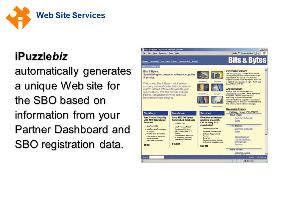 Web Site Services iPuzzlebiz automatically generates a unique Web site for the SBO based on information from your Partner Dashboard and SBO registration data.