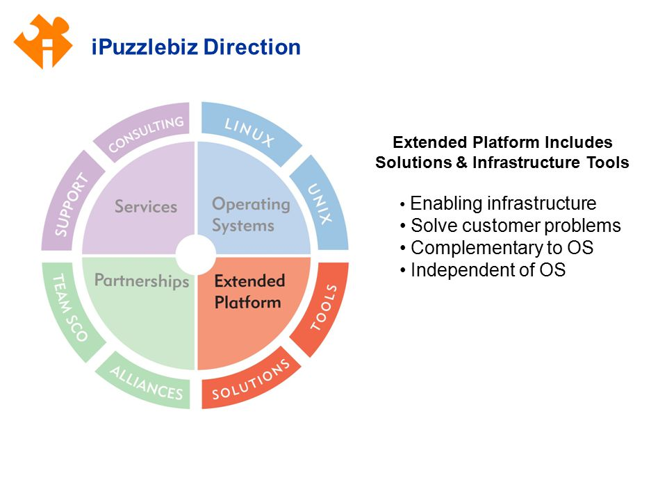 iPuzzlebiz Direction Extended Platform Includes Solutions & Infrastructure Tools Enabling infrastructure Solve customer problems Complementary to OS I