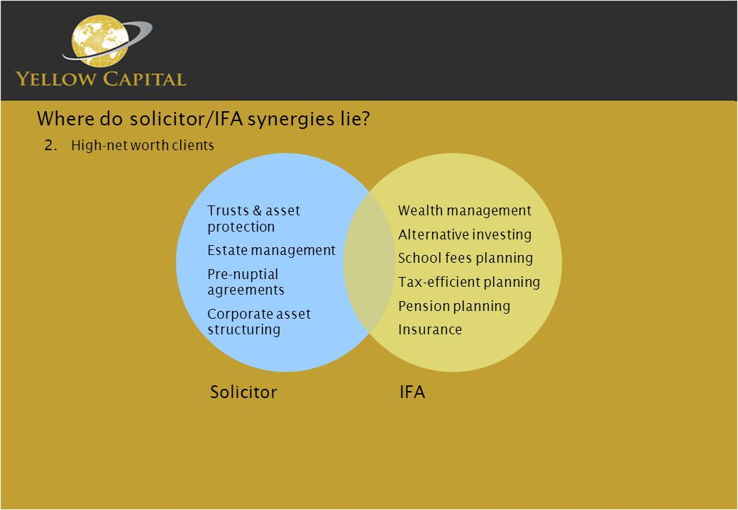 Where do solicitor/IFA synergies lie. 2.