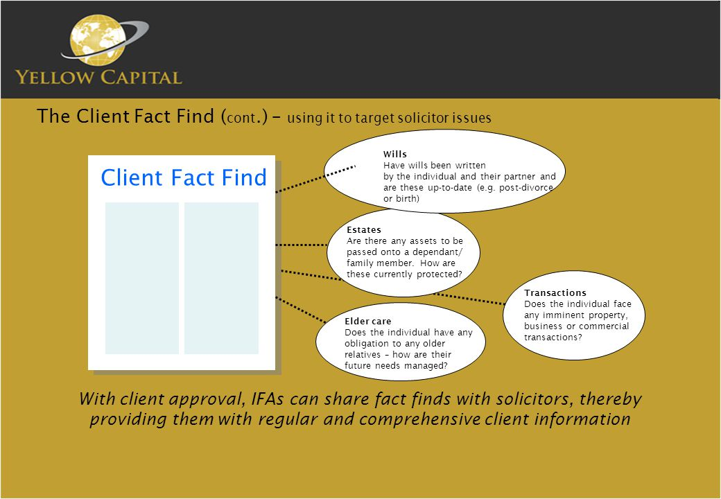 The Client Fact Find ( cont.) – using it to target solicitor issues Client Fact Find Estates Are there any assets to be passed onto a dependant/ family member.