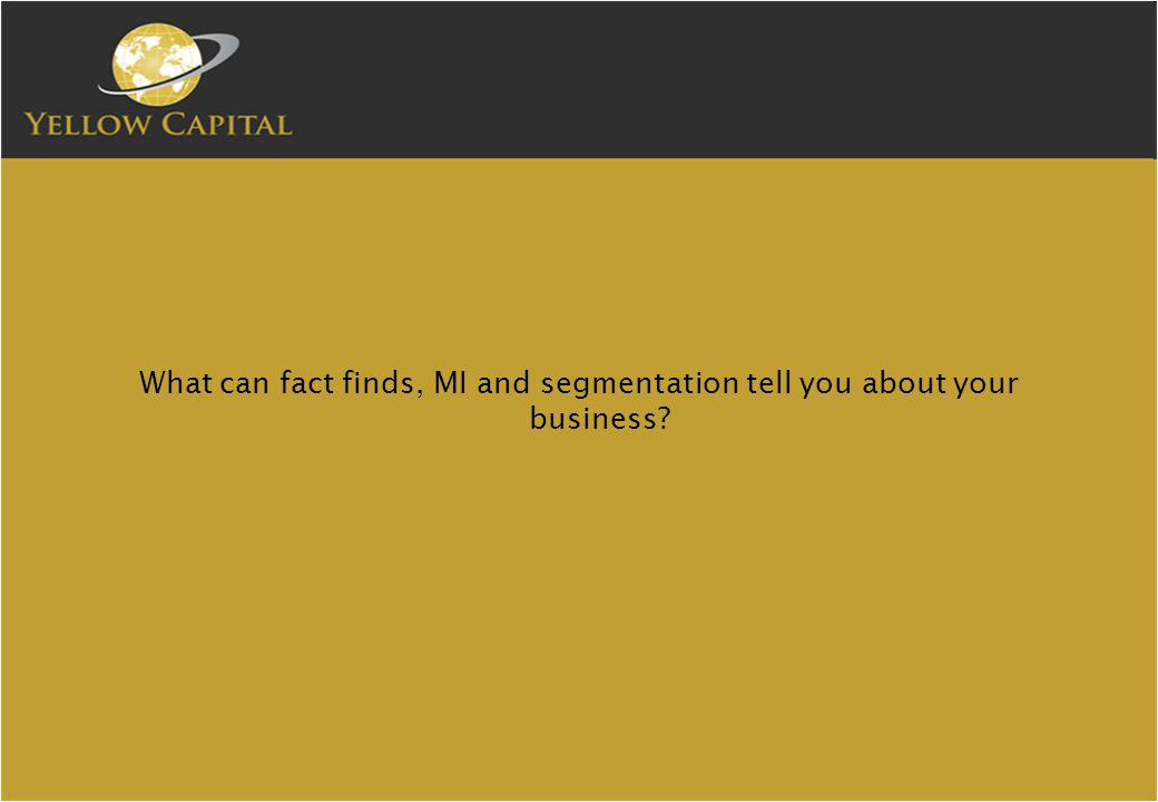 What can fact finds, MI and segmentation tell you about your business?