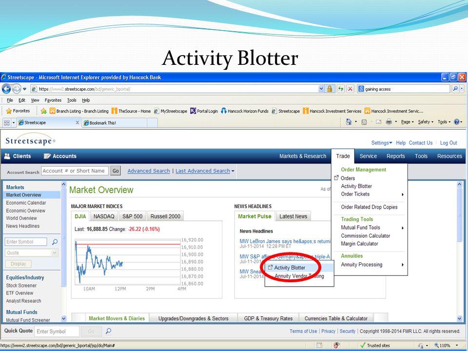 Activity Blotter