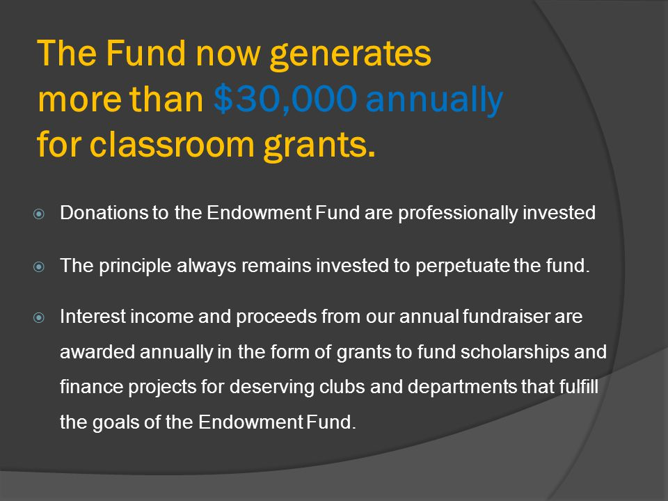 The Fund now generates more than $30,000 annually for classroom grants.