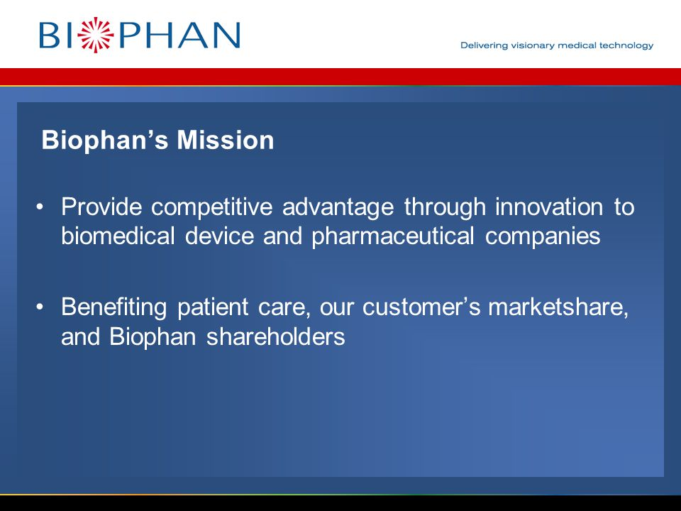 Biophan's Mission Provide competitive advantage through innovation to biomedical device and pharmaceutical companies Benefiting patient care, our customer's marketshare, and Biophan shareholders