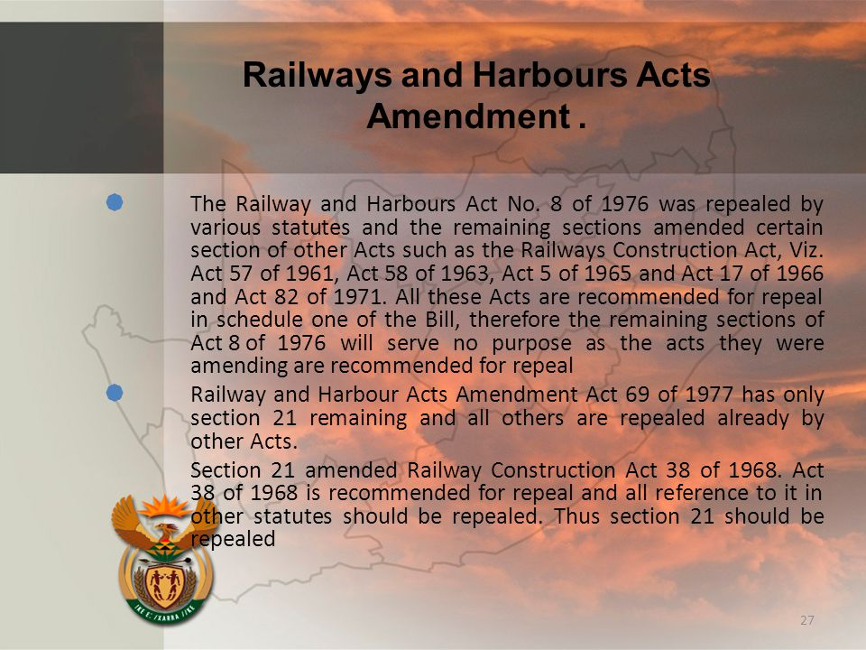 Railways and Harbours Acts Amendment.  The Railway and Harbours Act No.