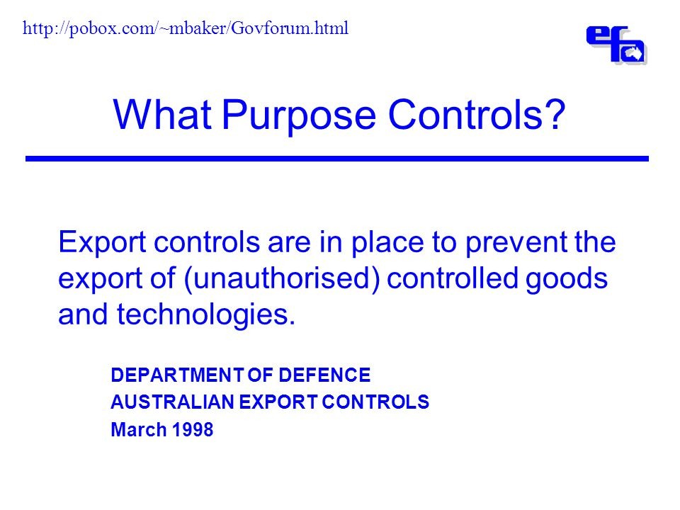 What Purpose Controls.