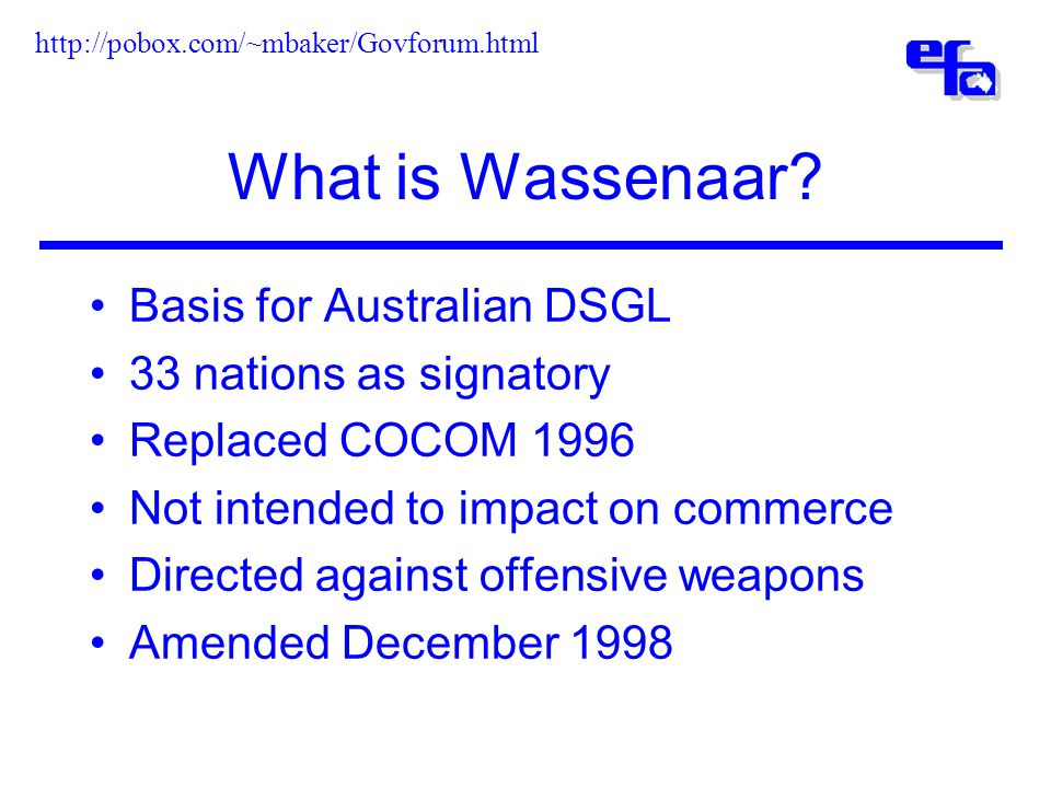 What is Wassenaar.