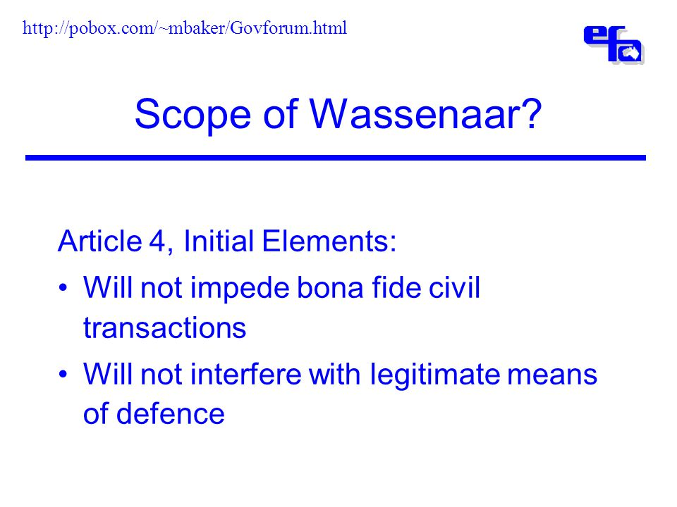Scope of Wassenaar.