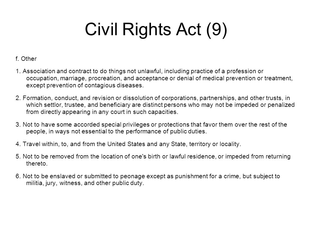 Civil Rights Act (9) f. Other 1.
