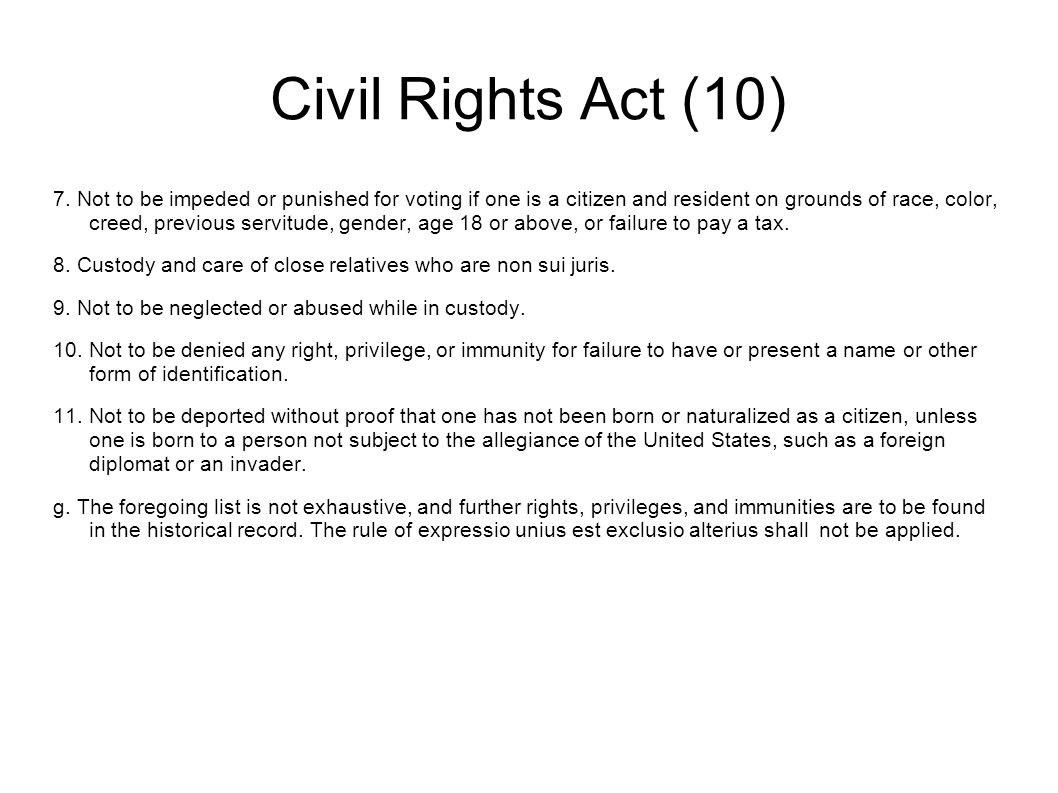 Civil Rights Act (10) 7.