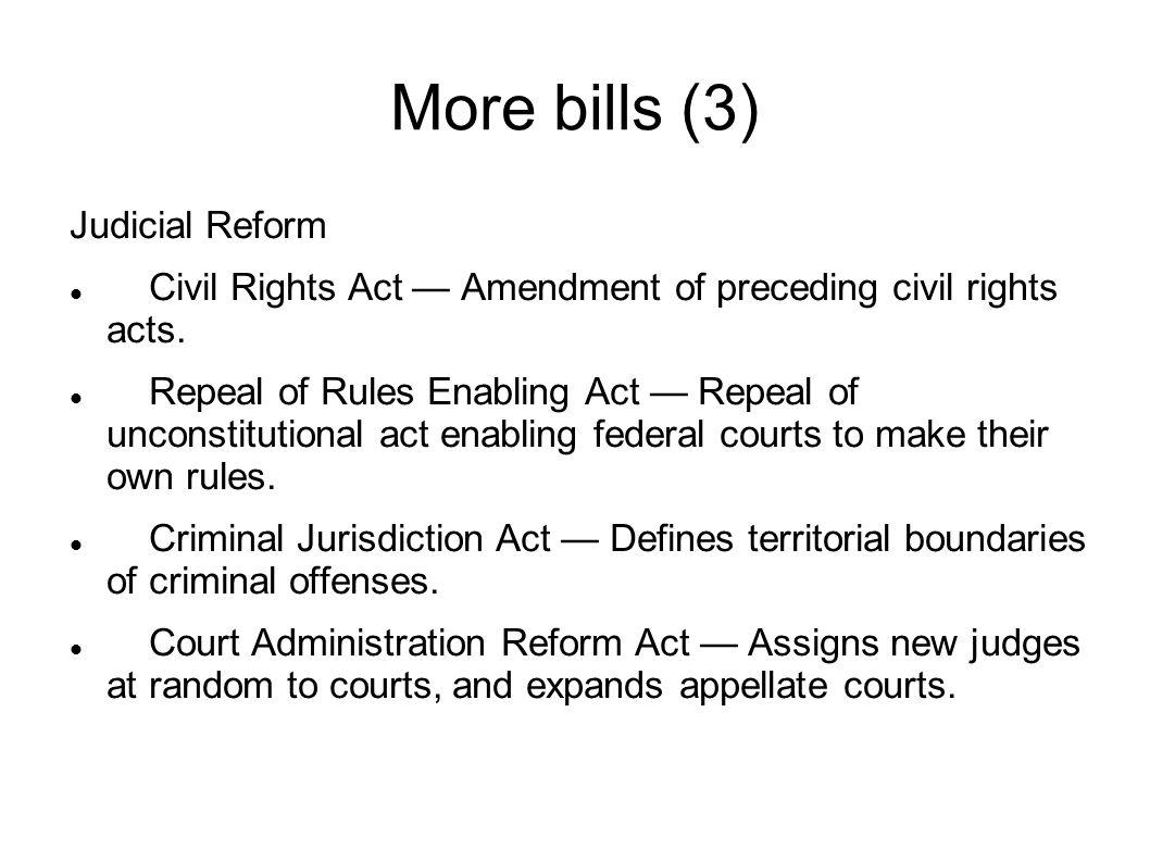 More bills (4) Defense Reform Amendment to National Defense Authorization Act — Removing unconstitutional detention provision.