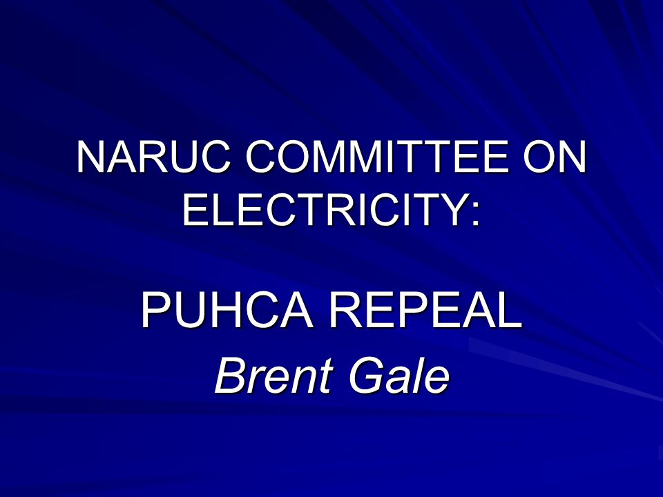 NARUC COMMITTEE ON ELECTRICITY: PUHCA REPEAL Brent Gale