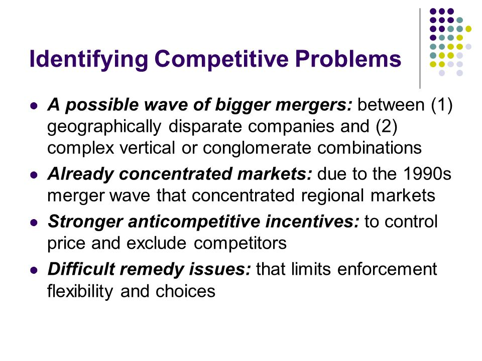 Identifying Competitive Problems A possible wave of bigger mergers: between (1) geographically disparate companies and (2) complex vertical or conglomerate combinations Already concentrated markets: due to the 1990s merger wave that concentrated regional markets Stronger anticompetitive incentives: to control price and exclude competitors Difficult remedy issues: that limits enforcement flexibility and choices