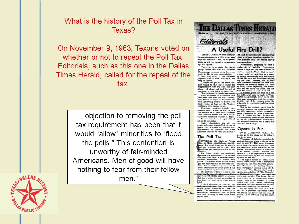 What is the history of the Poll Tax in Texas.