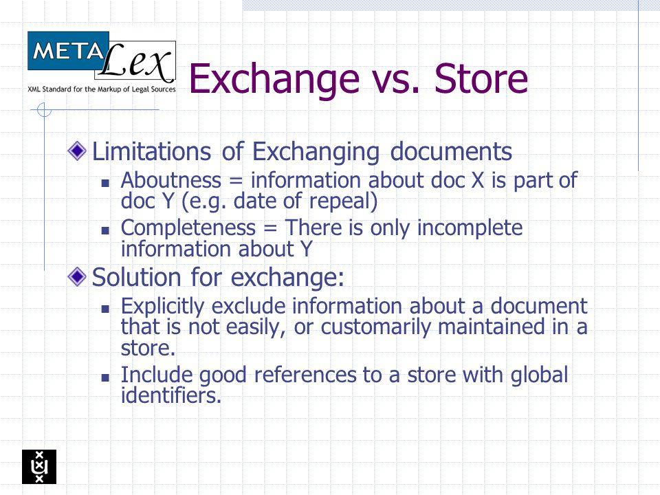 Overview META Lex Exchange vs. META Lex Store Design requirements META Lex Store Versions and Identity Legislation lifecycle Summary