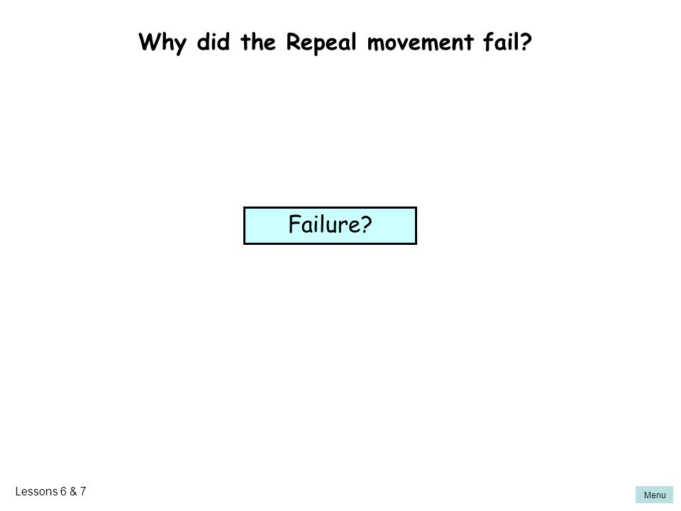 Menu Why did the Repeal movement fail? Failure? Lessons 6 & 7