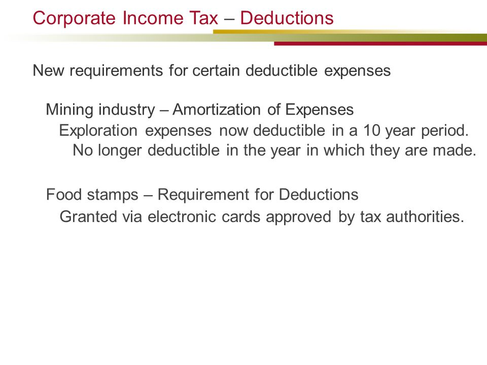 Food stamps – Requirement for Deductions Granted via electronic cards approved by tax authorities.